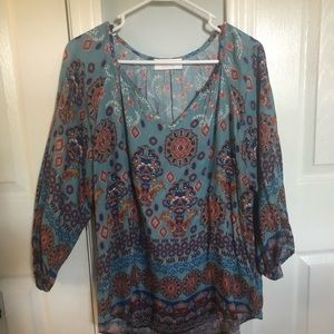 Flowing loose fit peasant style shirt size large